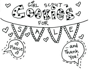 Girl scout cookie coloring printable sign
