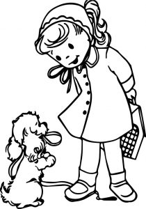 Girl with puppy printable coloring page