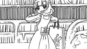 Glitter force girl shopping coloring page