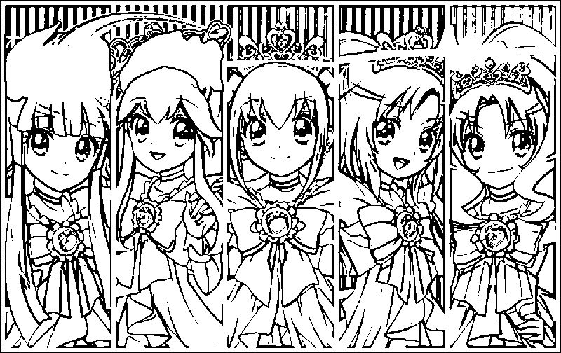 Glitter Force Girls Style Coloring Page