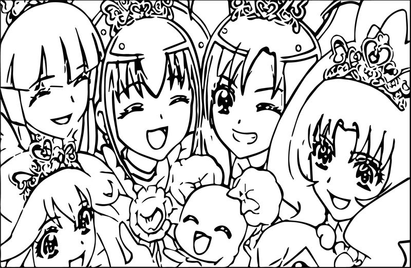 Glitter Force Happy Girls Coloring Page