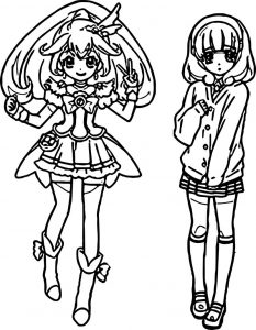 Glitter force two girl coloring page