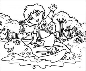 Go diego go and sea turtle coloring page