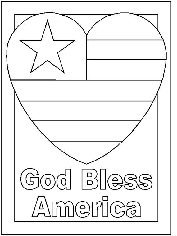 God Bless America Presidents Day Coloring Page