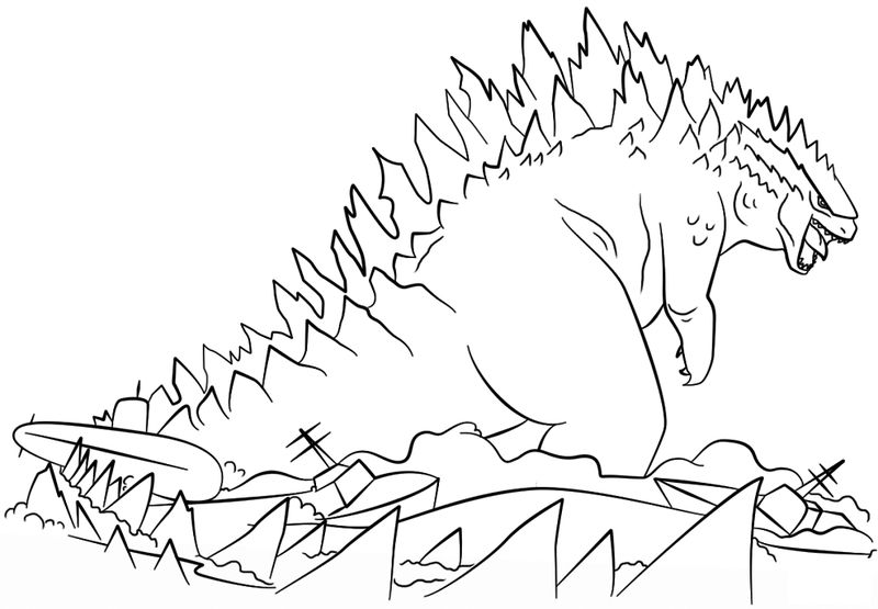 Godzilla Coloring Pages To Print For Kids 001
