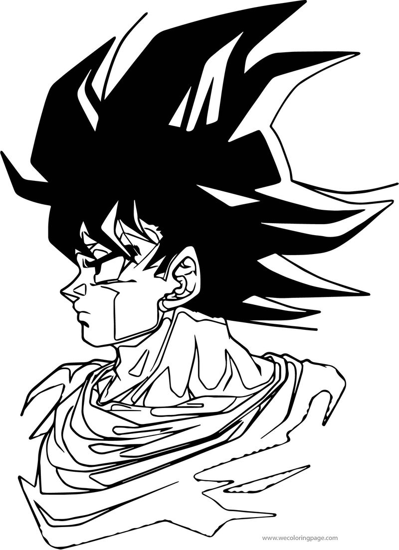 Goku Side Face Coloring Page
