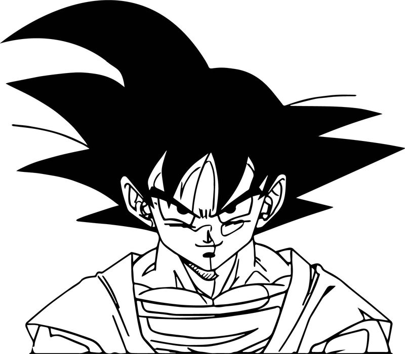 Goku Smile Face Coloring Page