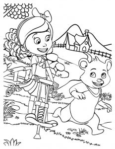 Goldie and bear fairy tale forest adventures coloring sheet
