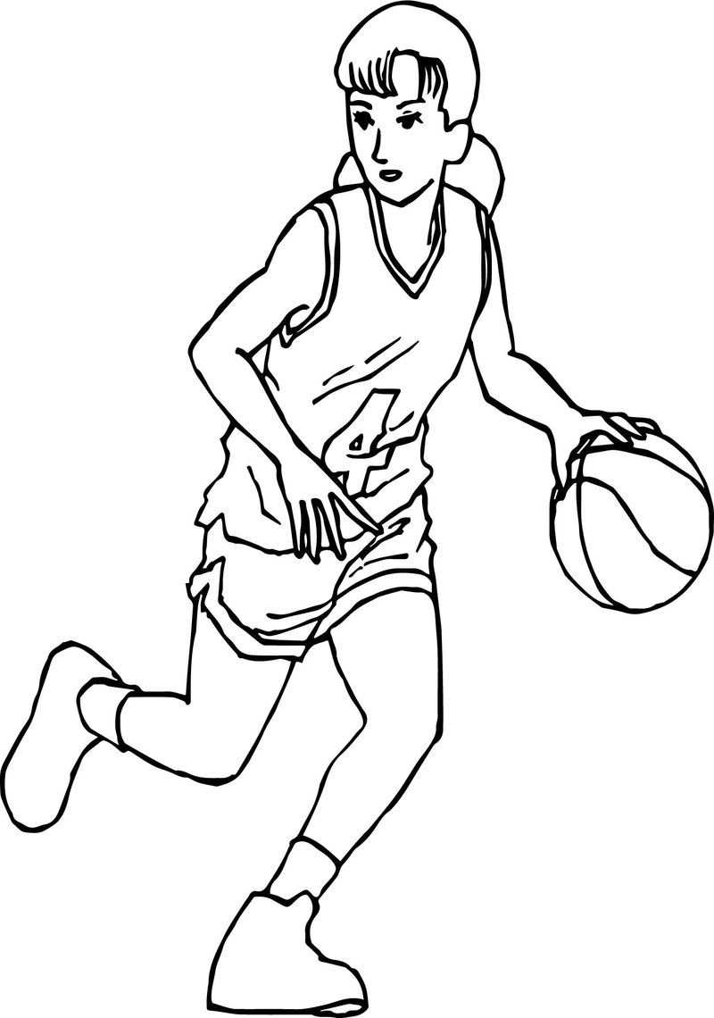 Good Manga Girl Playing Basketball Coloring Page