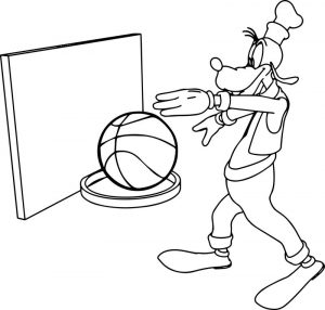 Goofy basketball coloring page
