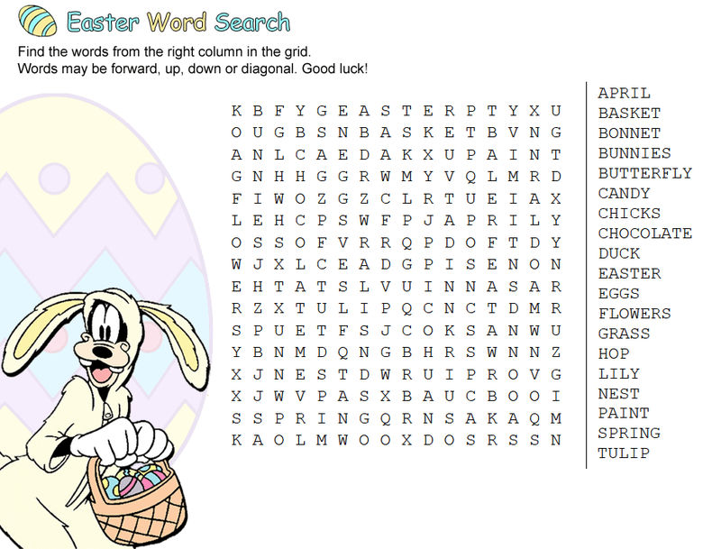 Goofy Easter Word Search