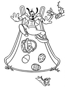 Goofy with easter basket coloring page