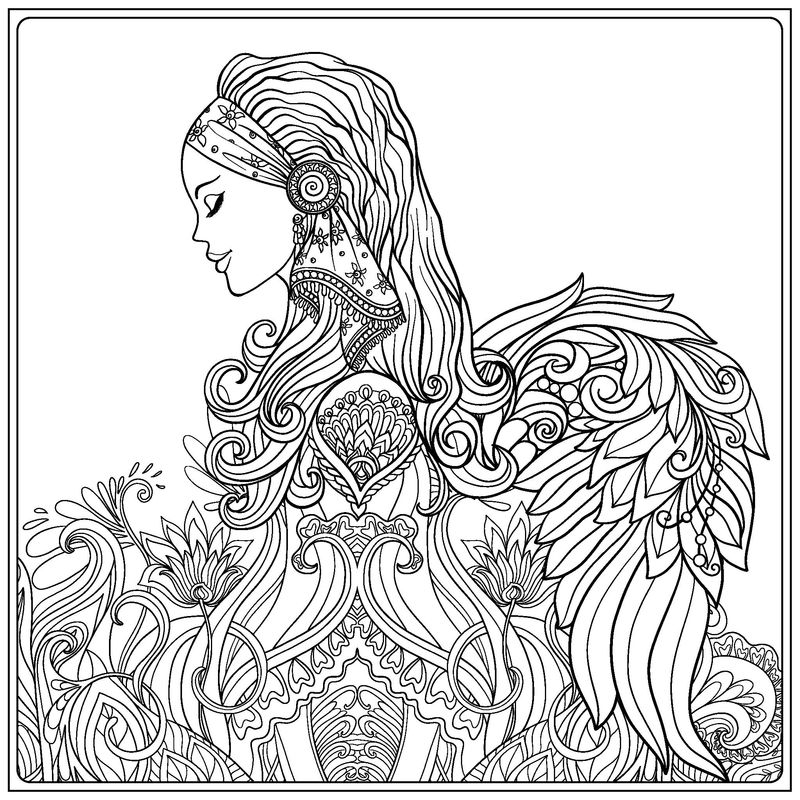 Gorgeous Adult Female Angel Coloring Page