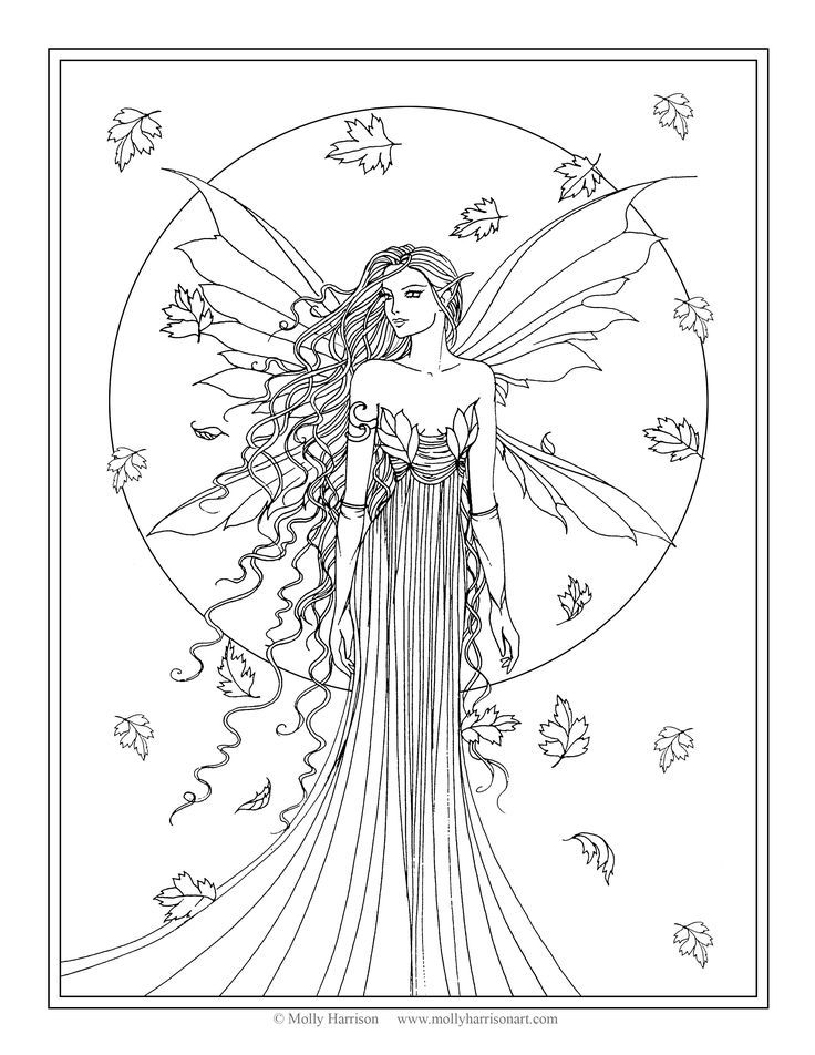 Gorgeous Fairy Gown Coloring Pages
