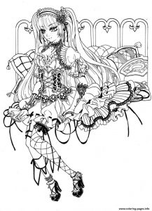 Gothic fairy coloring pages free