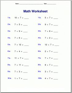 Grade math worksheets multiplication