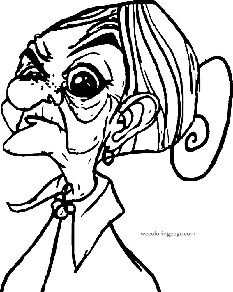 Granny Character Designs Coloring Page