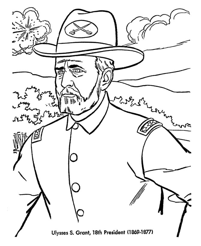 Grant Presidents Day Coloring Pages