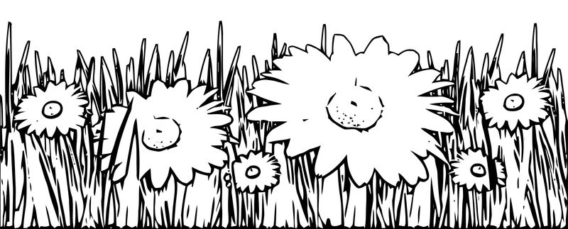 Grass And White Flowers Coloring Page