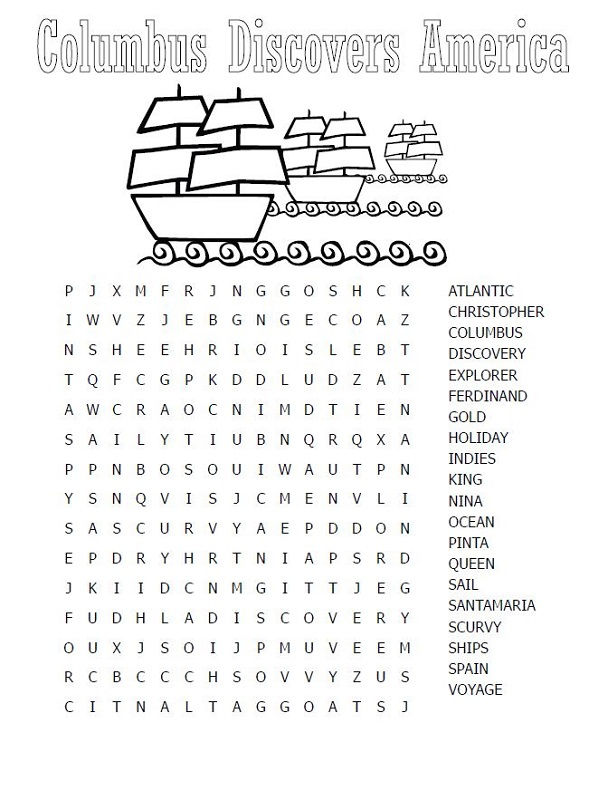 Great Day Word Search Columbus