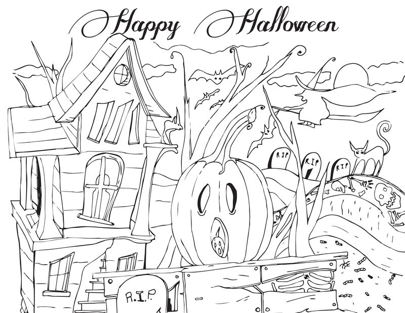 Halloween Activities Haunted House Coloring Pages 001