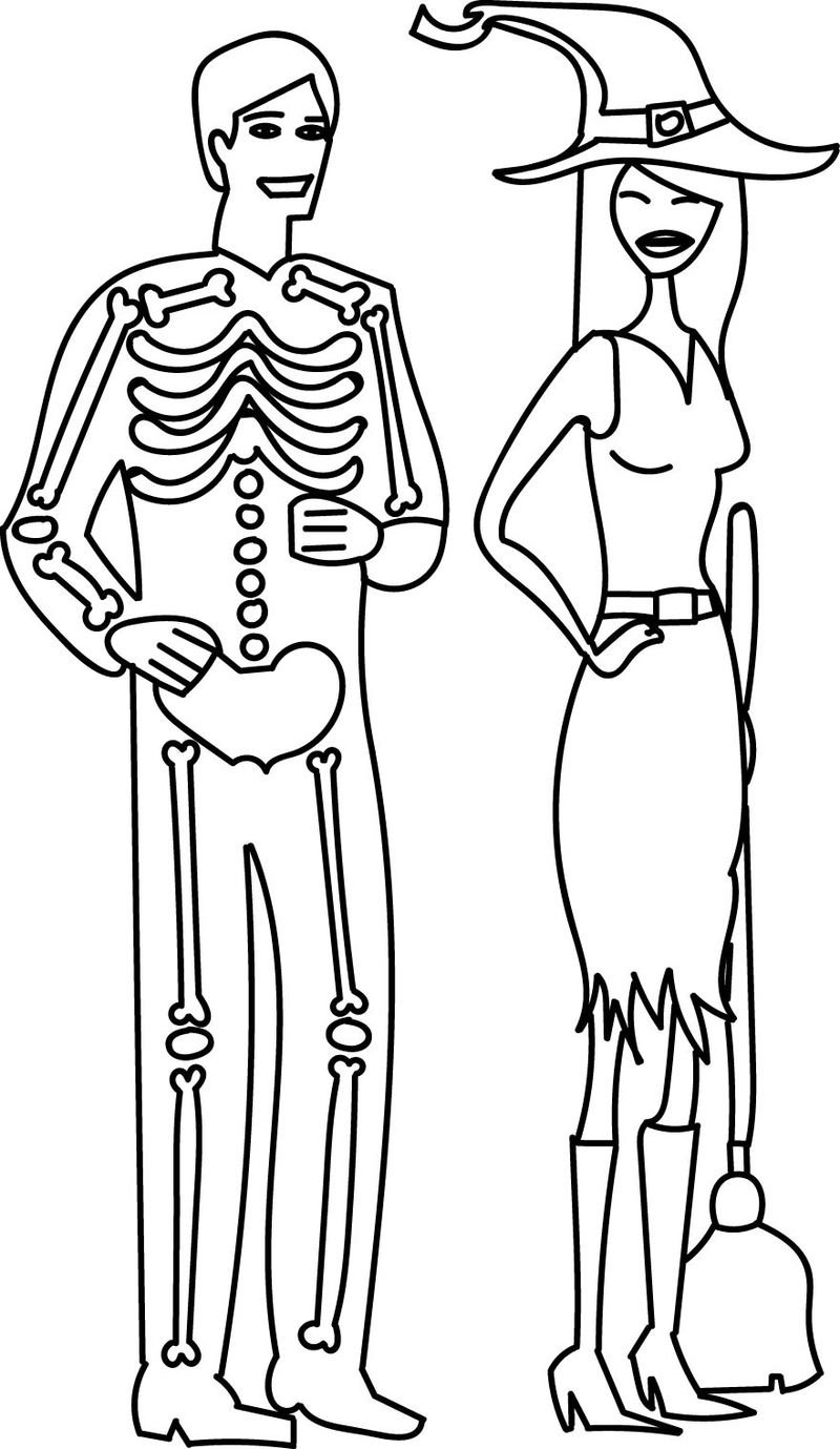 Halloween Costume Skeleton Man And Witch Girl Contest Coloring Page