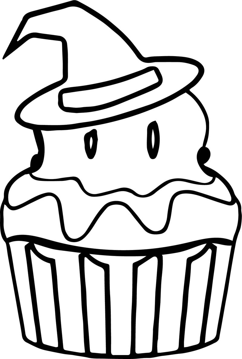 Halloween Cupcake Coloring Pages