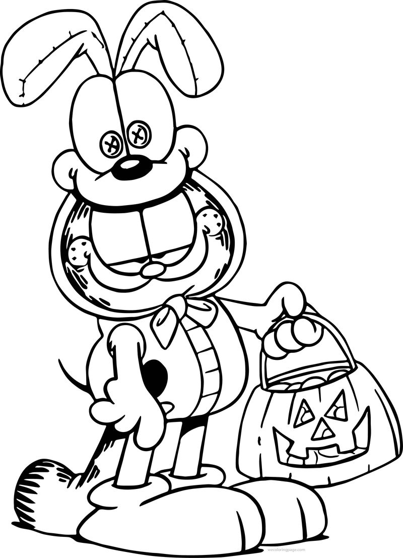 Halloween garfield coloring page