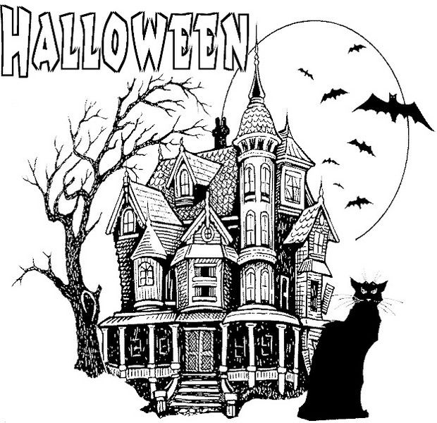 Halloween Haunted House Coloring Page