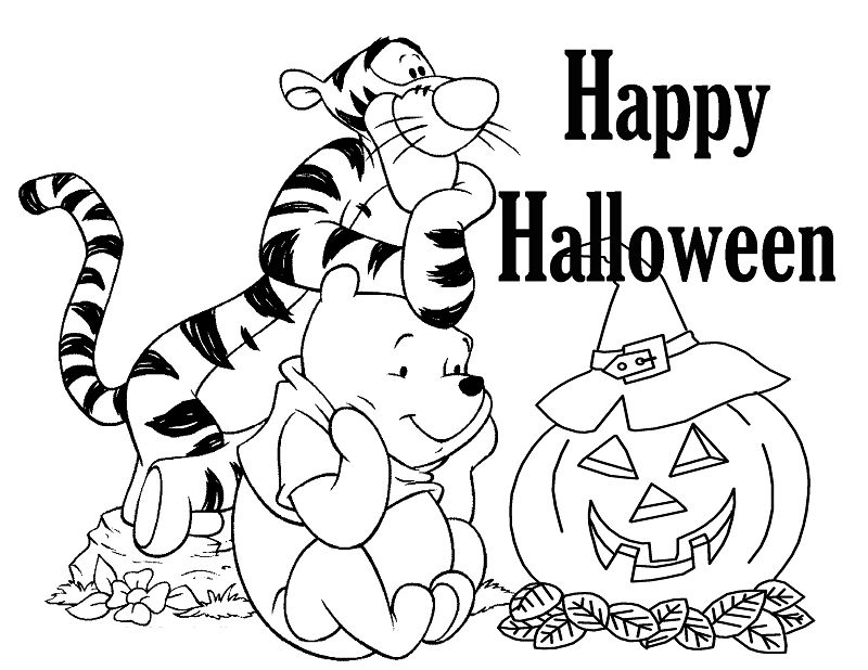 Halloween Pooh And Tigger Coloring Page