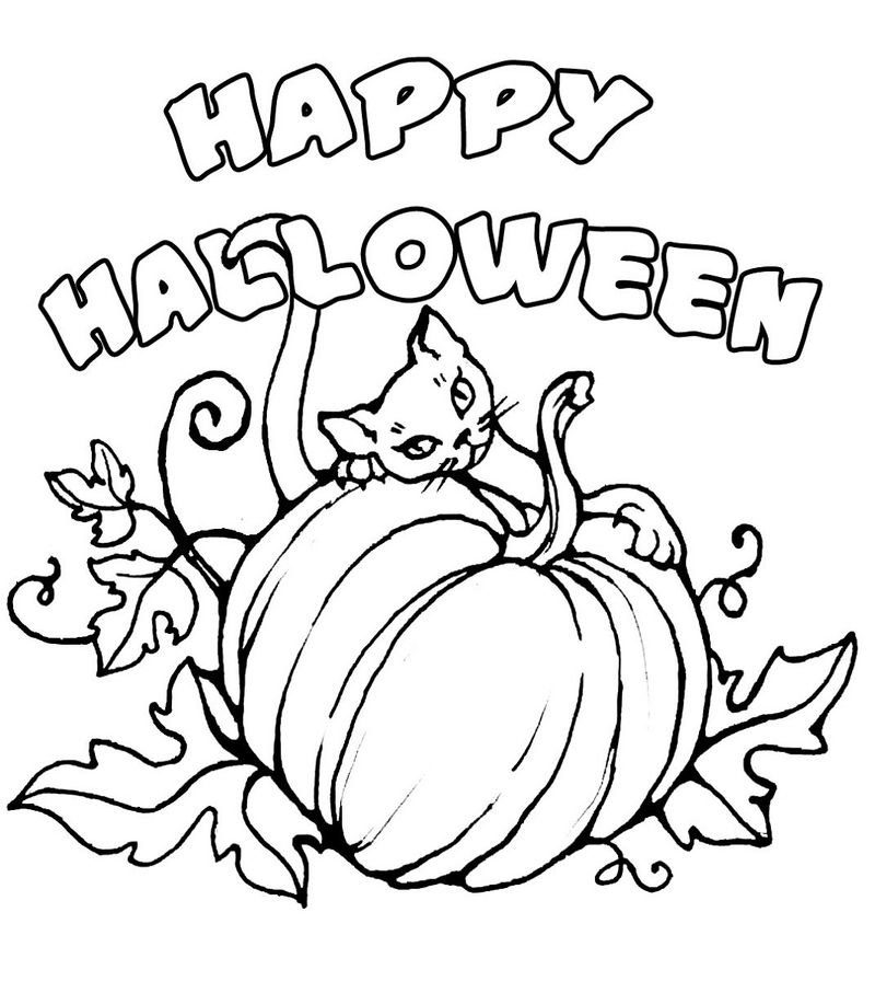 Halloween Printable Coloring Pages Happy 001