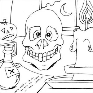 Halloween skull coloring page