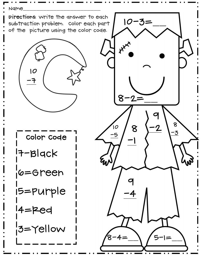 Halloween Subtraction Color By Number Worksheets