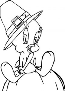 Halloween tweety coloring page