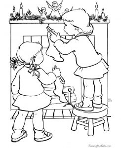 Hanging the christmas stocking coloring page
