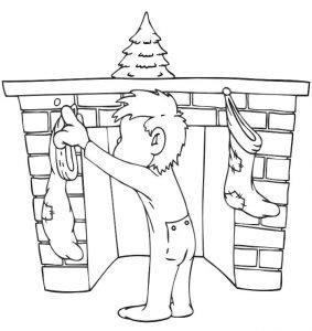 Hanging the christmas stockings coloring page 001