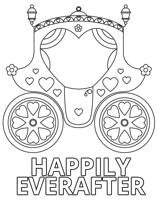 Happily Everafter Wedding Coloring Pages 001