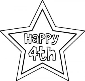 Happy 4th of july star coloring page
