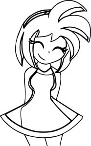 Happy amy rose anime coloring page