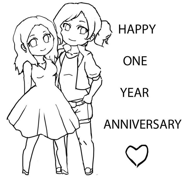 Happy Anniversary Coloring Page Cartoon