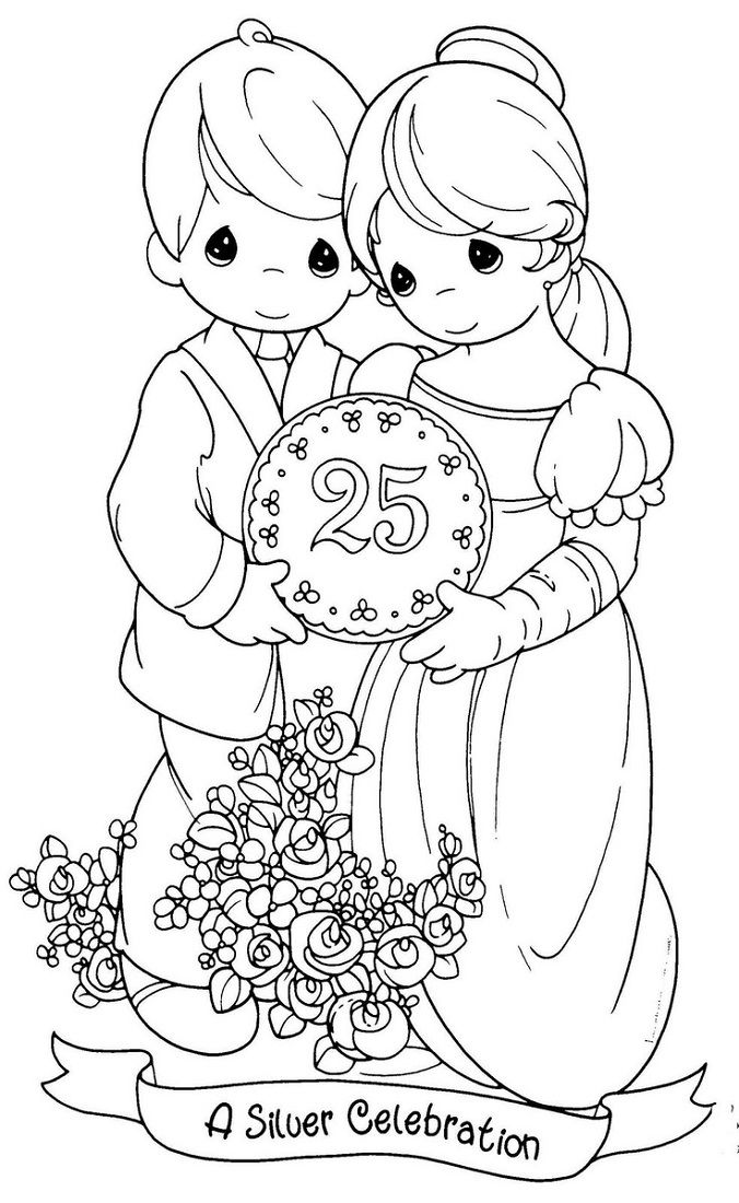 Happy Anniversary Coloring Page Cute