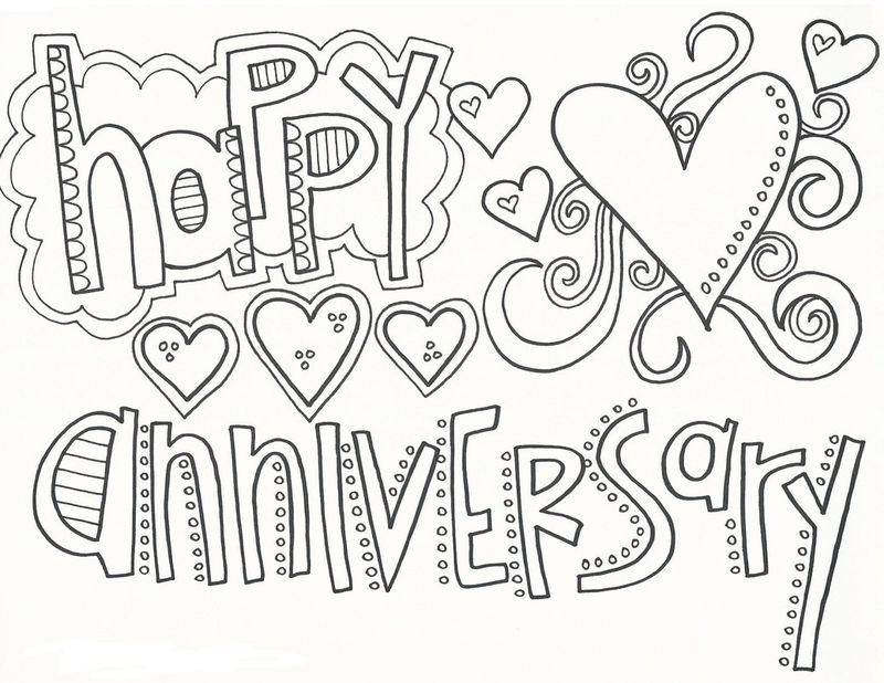 Happy Anniversary Coloring Page Free