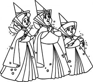 Happy aurora flora fauna and merryweather coloring pages