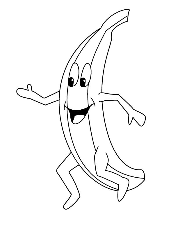 Happy Banana Coloring Page