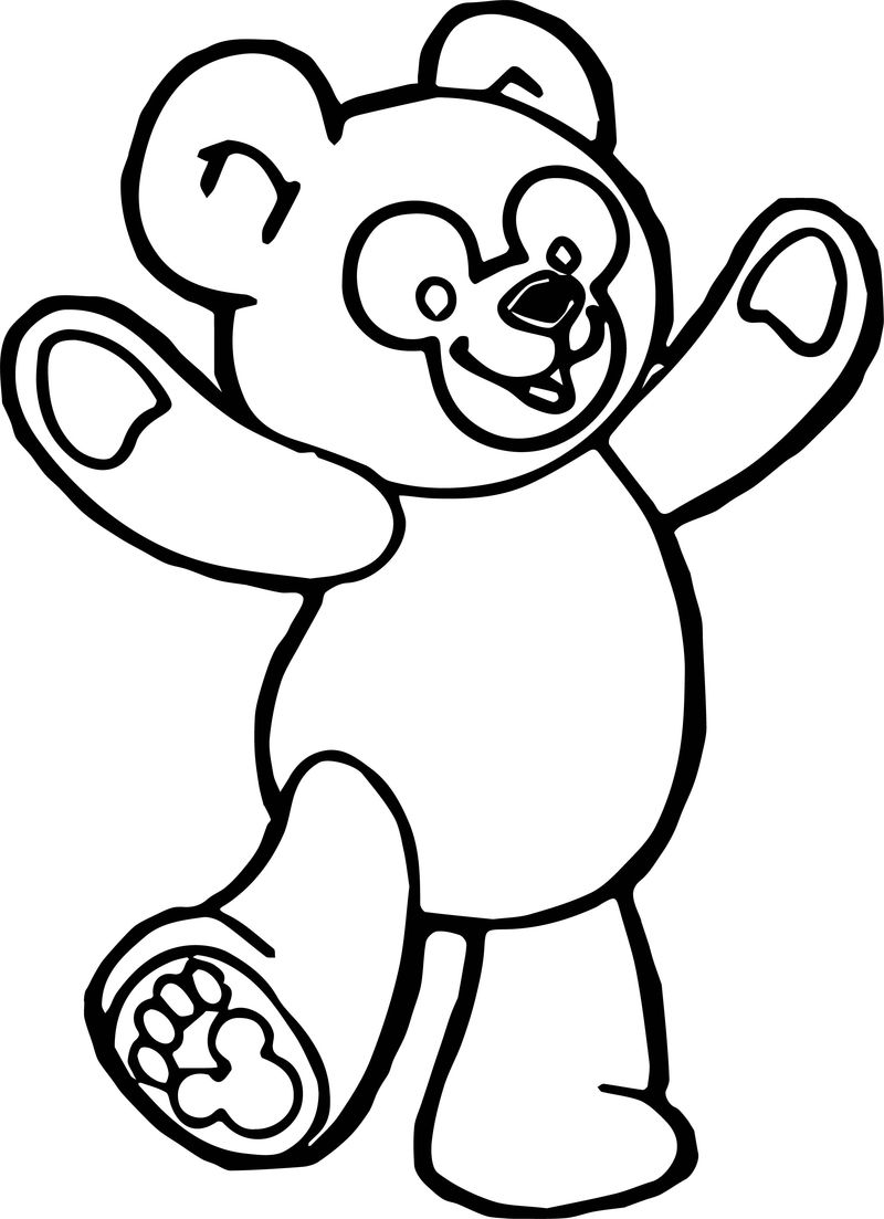 Happy Bear Standing Coloring Page 1