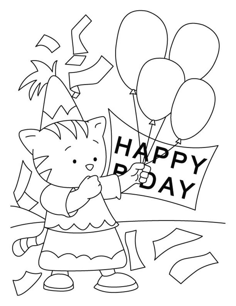 Happy Birthday Cat Coloring Pages - Coloring Sheets