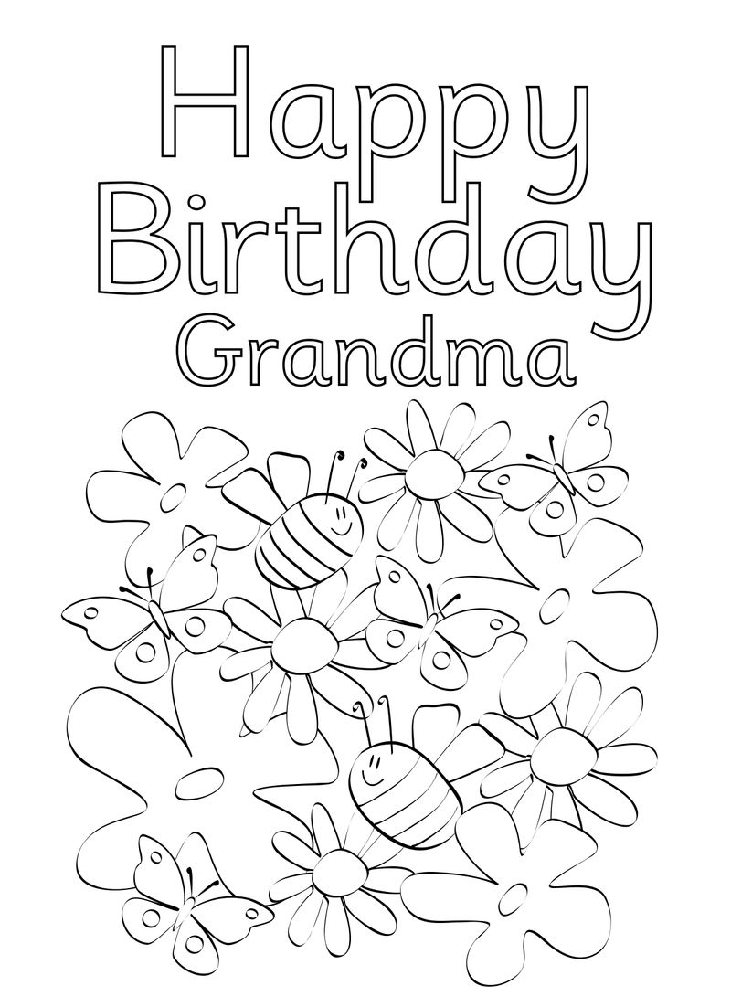Happy Birthday Coloring Pages For Grandma