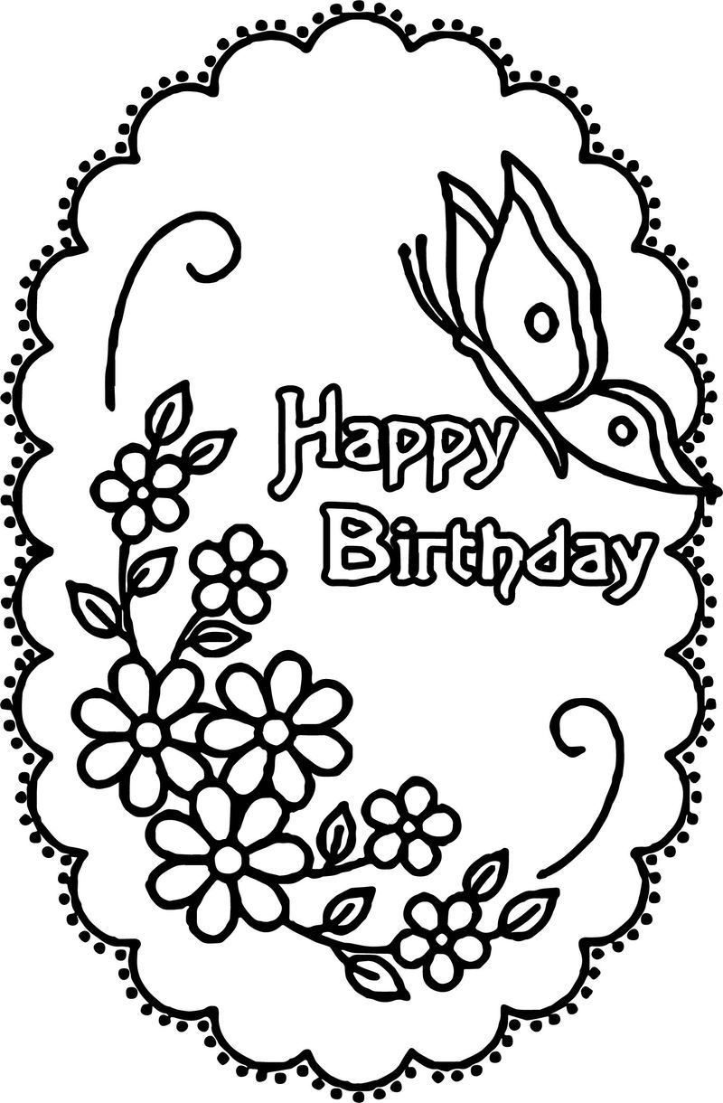 Happy Birthday Flower Butterfly Coloring Page
