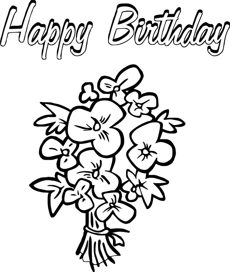 Happy Birthday Flowers Coloring Page