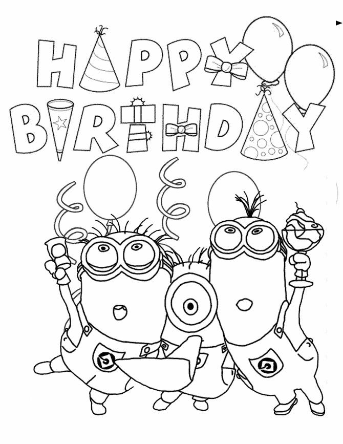 Happy Birthday Minions Coloring Pages